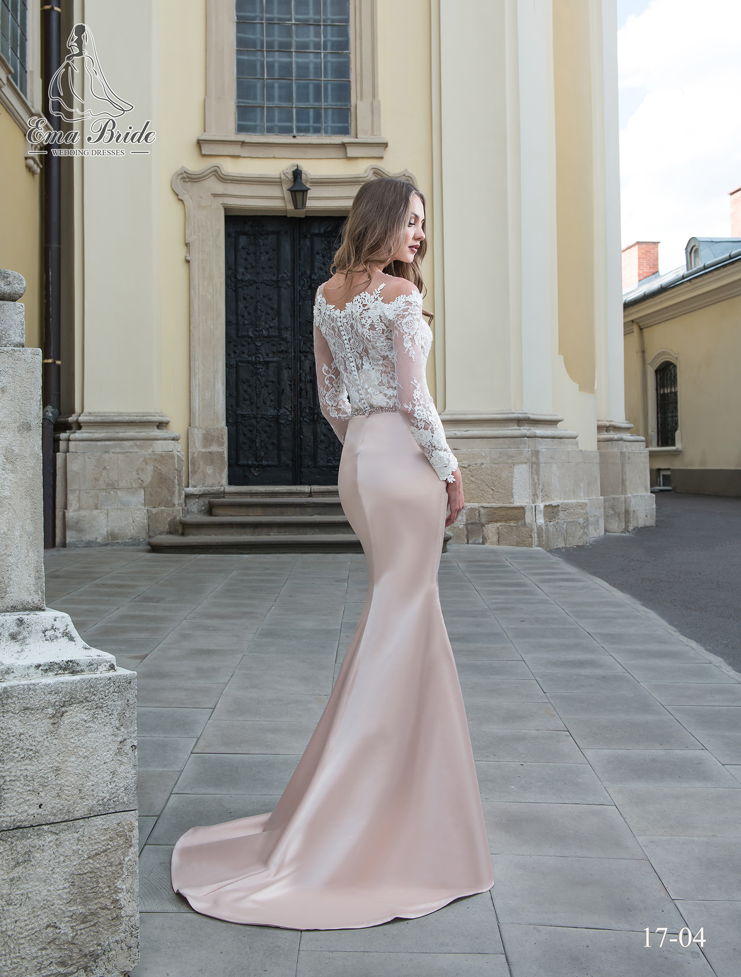 Satin wedding dress pink quartz color-2