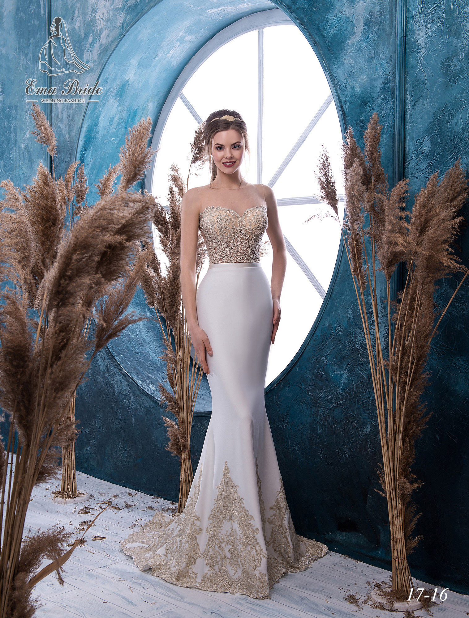 Bustier wedding dress with gold embroidery