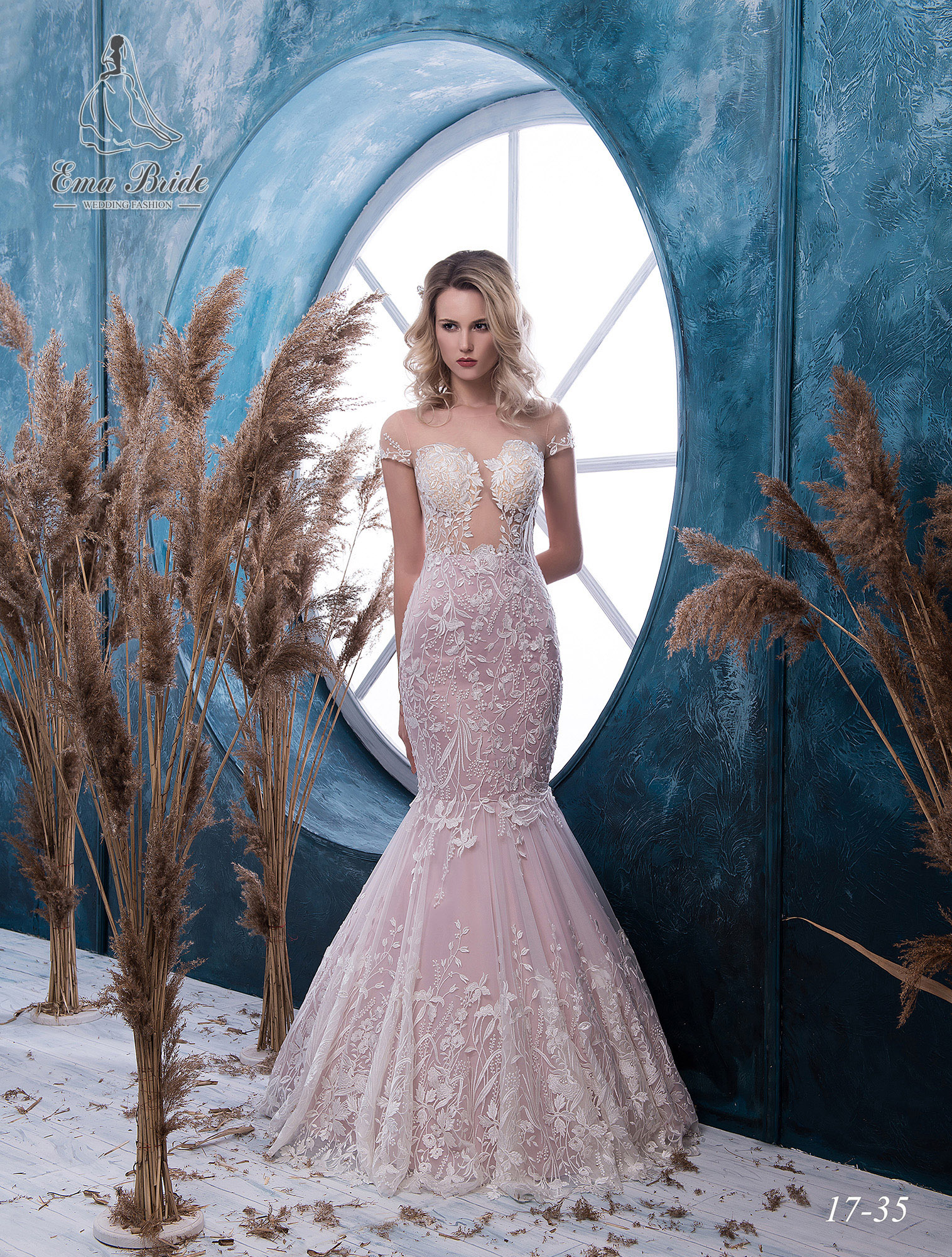 Pink fish silhouette wedding dress