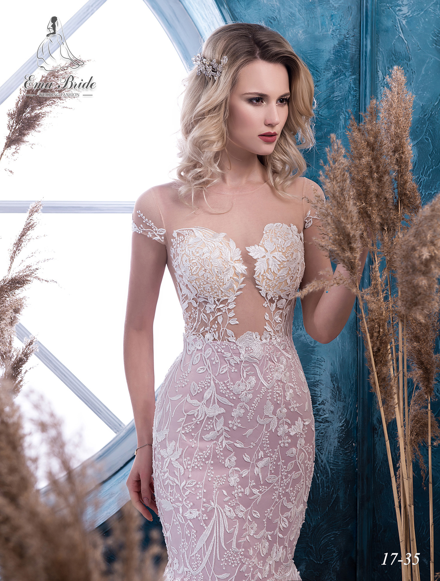 Pink fish silhouette wedding dress-1