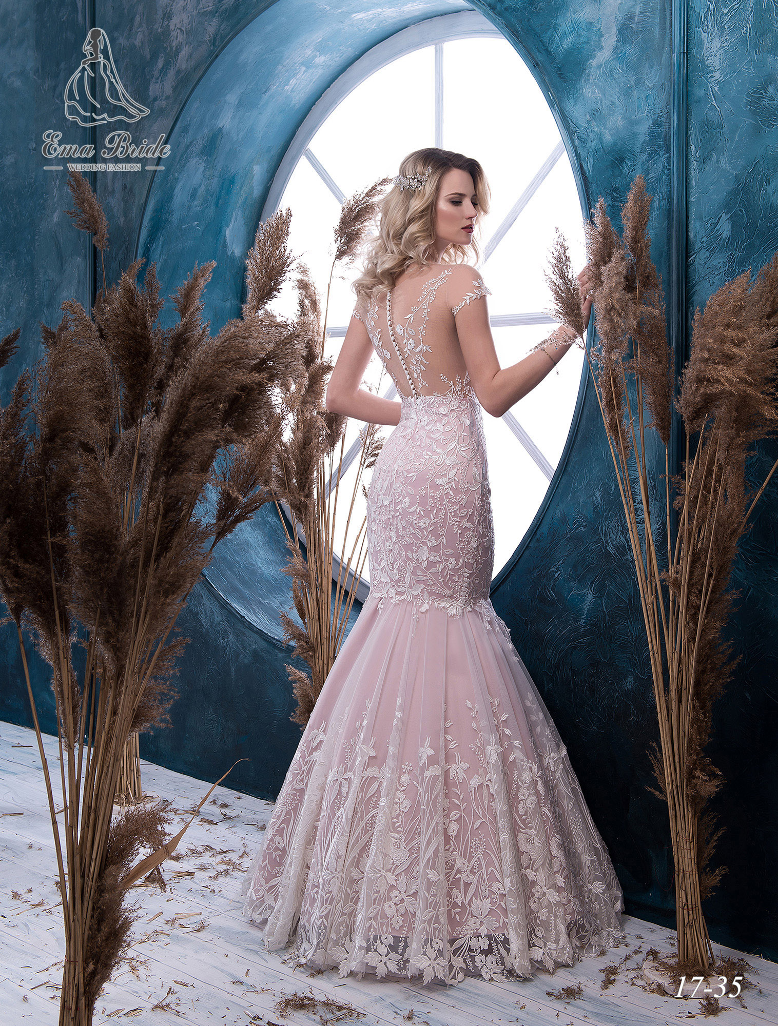 Pink fish silhouette wedding dress-2