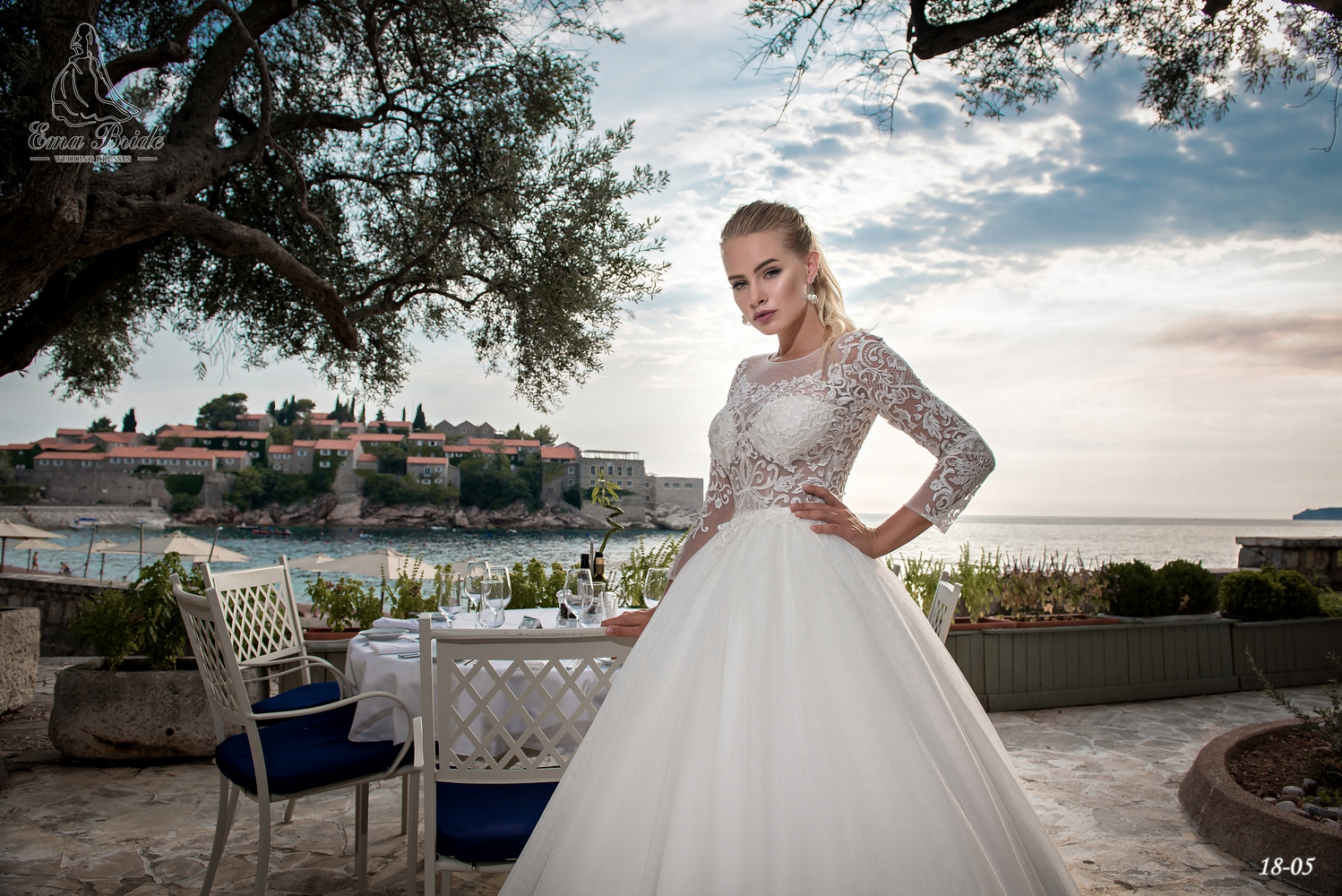 Lush wedding dress with long sleeves