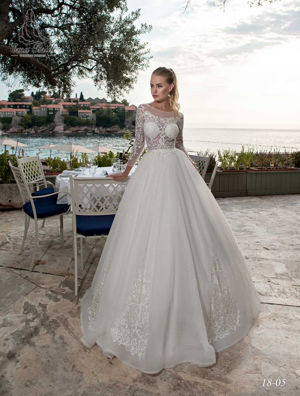 Lush wedding dress with long sleeves-1