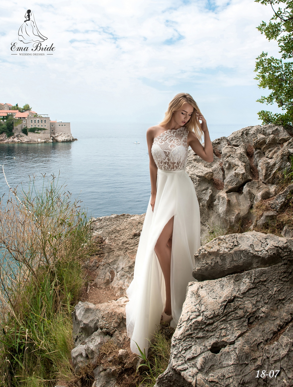 Light one-shoulder wedding dress by Ema Bride-1