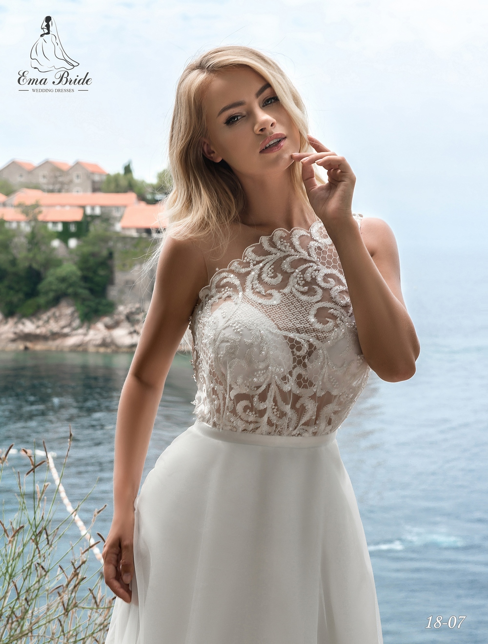 Light one-shoulder wedding dress by Ema Bride-2