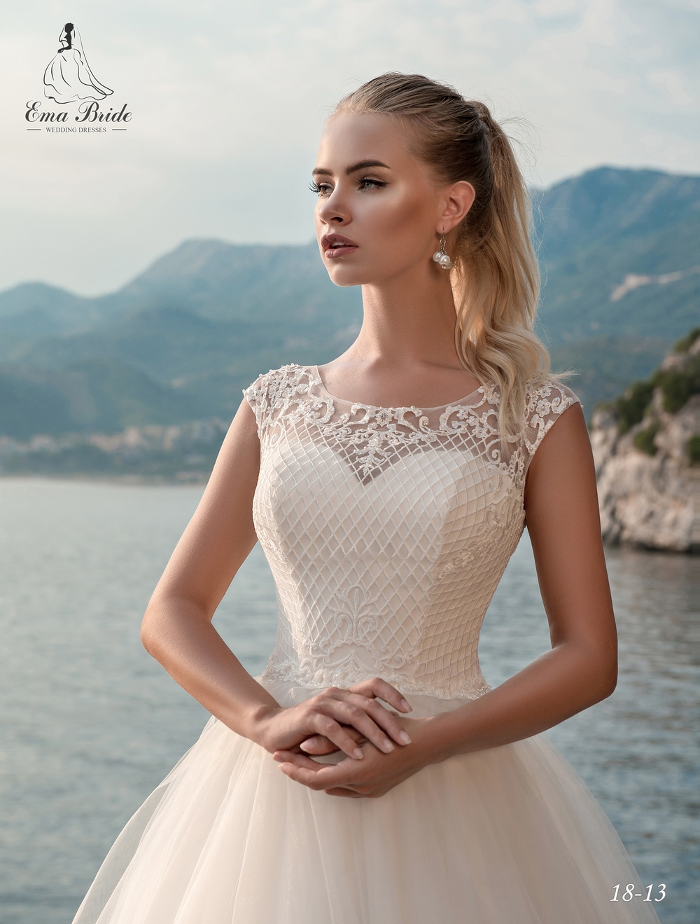 Lush, classic wedding dresses by Emabride with train-2