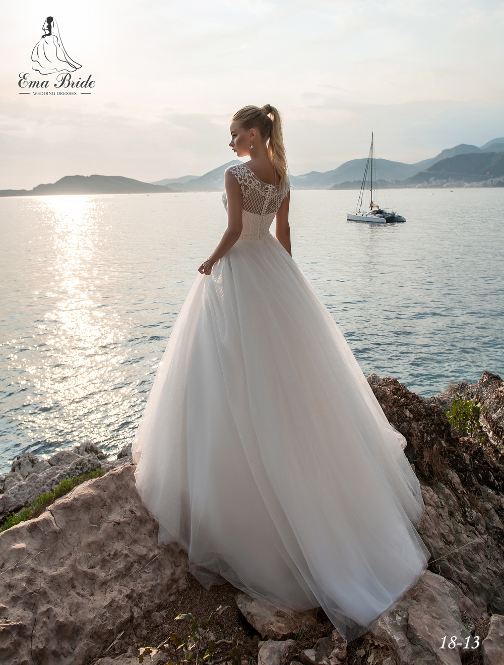 Lush, classic wedding dresses by Emabride with train-3