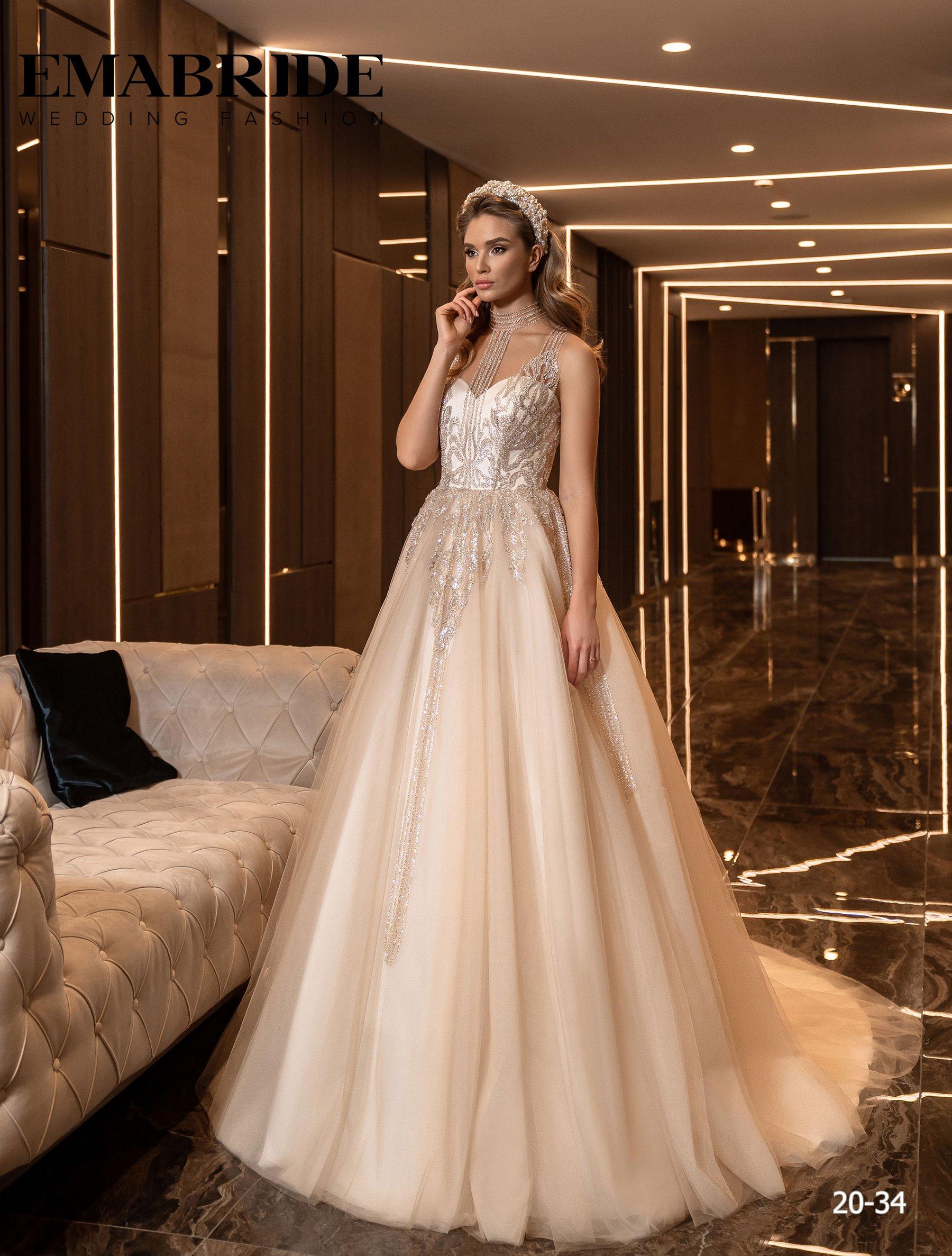 Свадебное платье с фатиновой юбкой и аппликациями оптом от Ema Bride