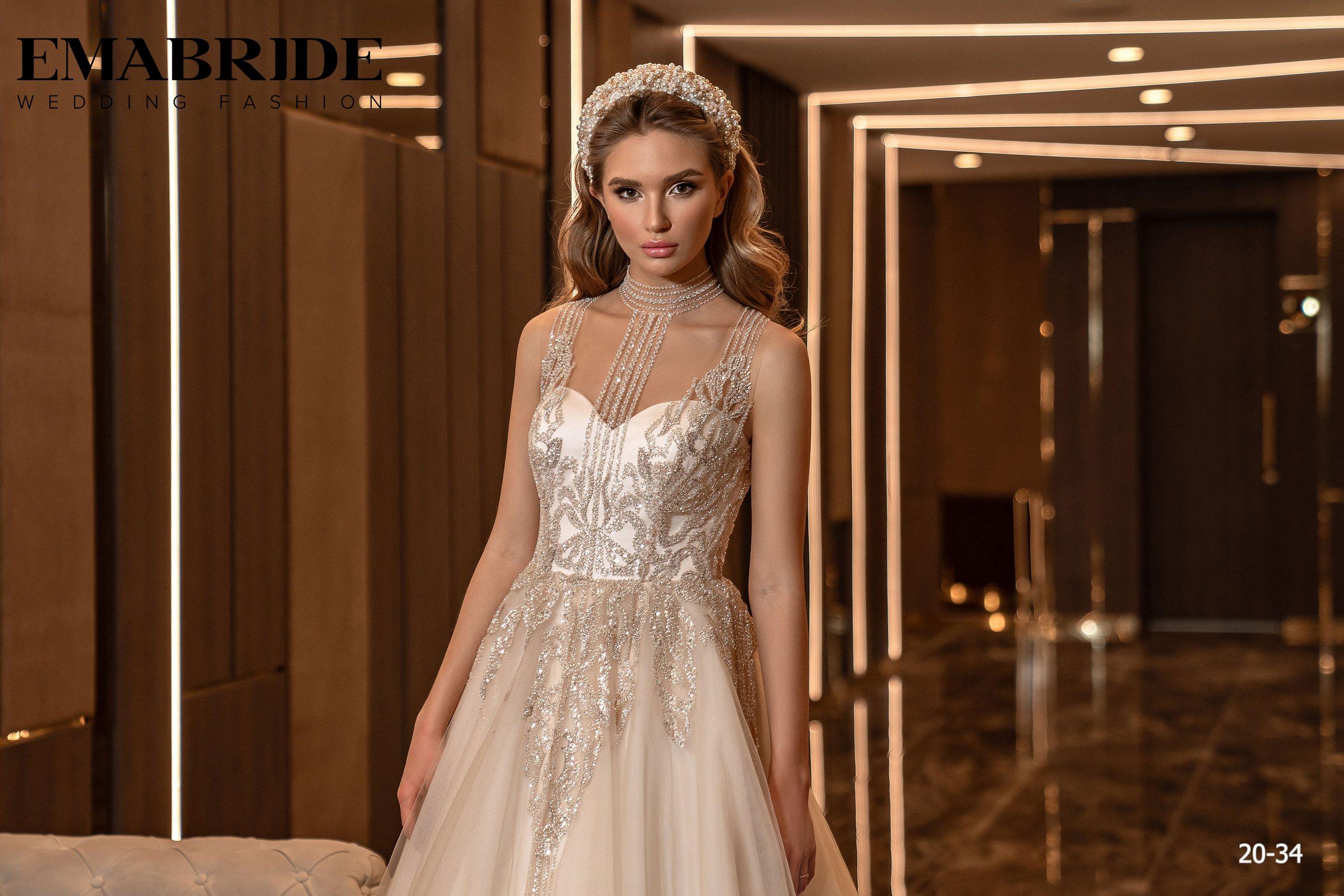 Свадебное платье с фатиновой юбкой и аппликациями оптом от Ema Bride-1