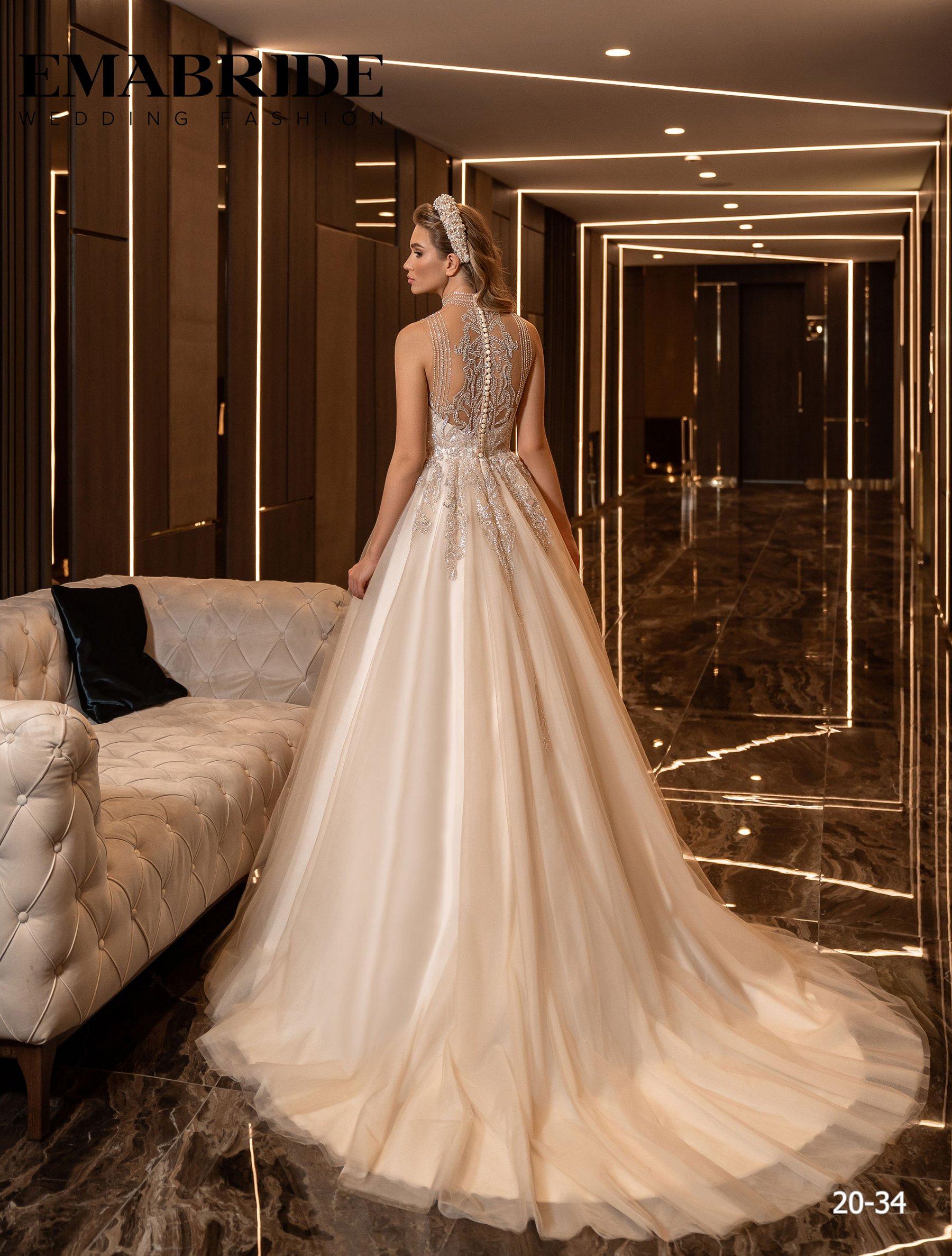 Свадебное платье с фатиновой юбкой и аппликациями оптом от Ema Bride-3