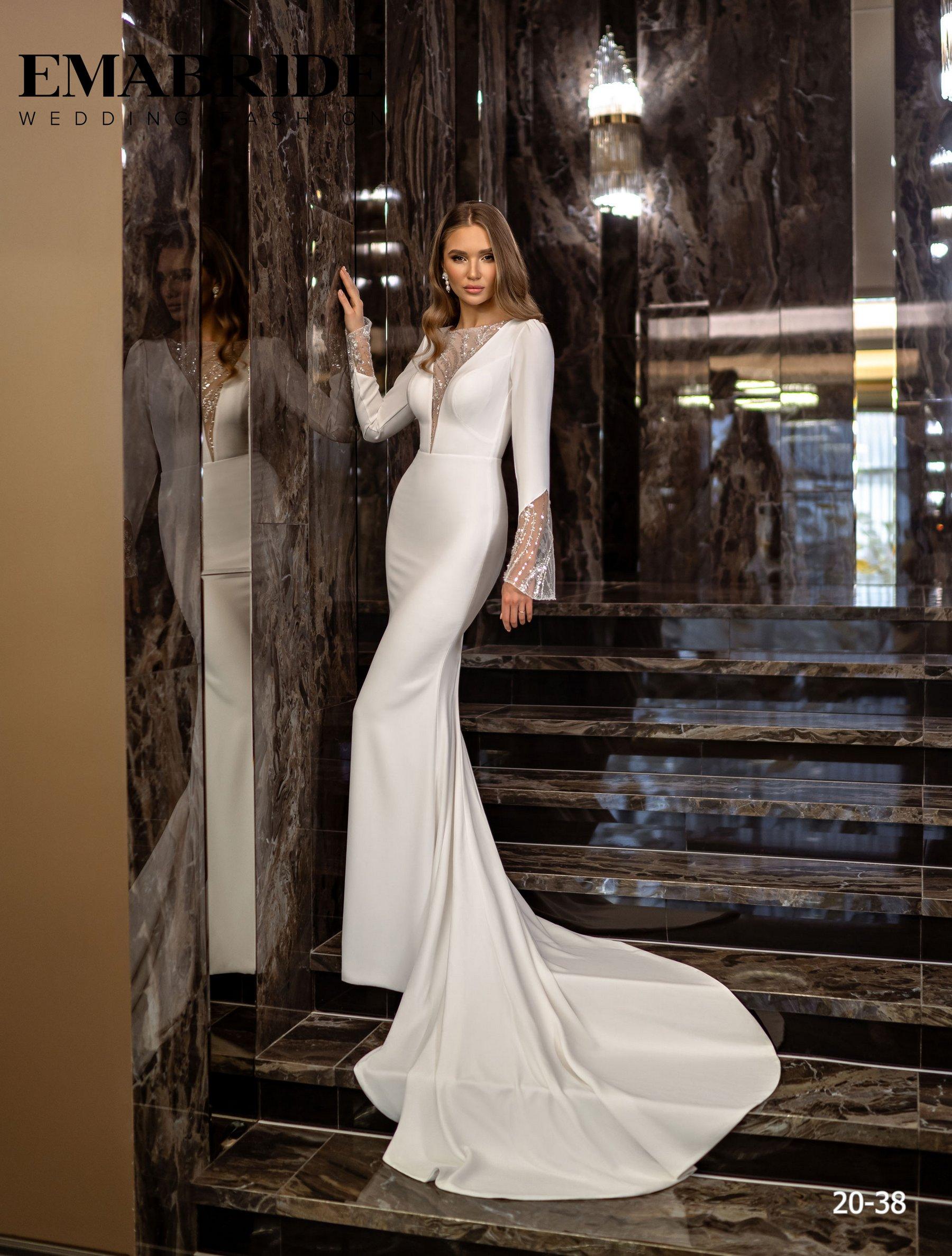 Элегантное свадебное платье русалка с рукавами оптом от Ema Bride