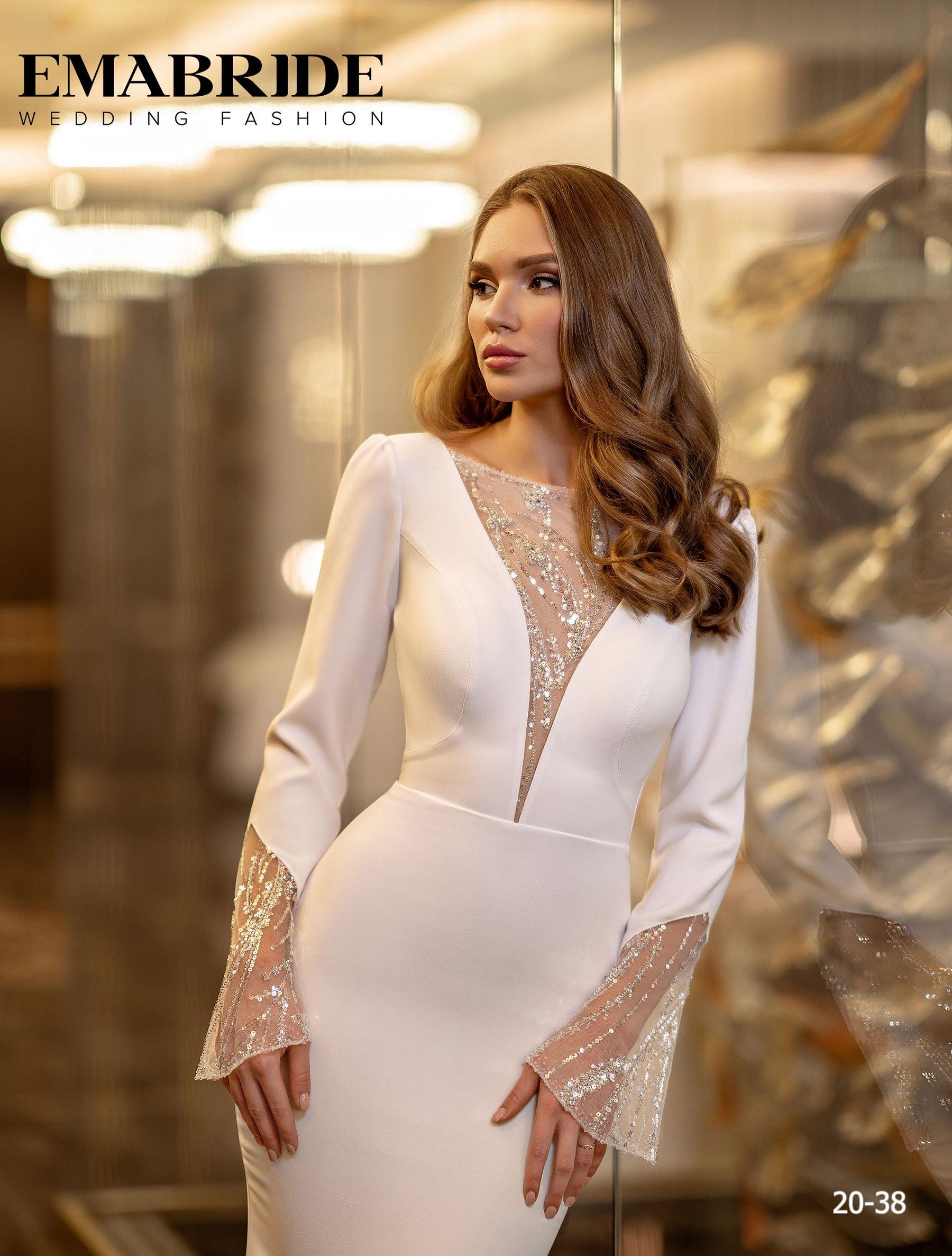 Элегантное свадебное платье русалка с рукавами оптом от Ema Bride-1