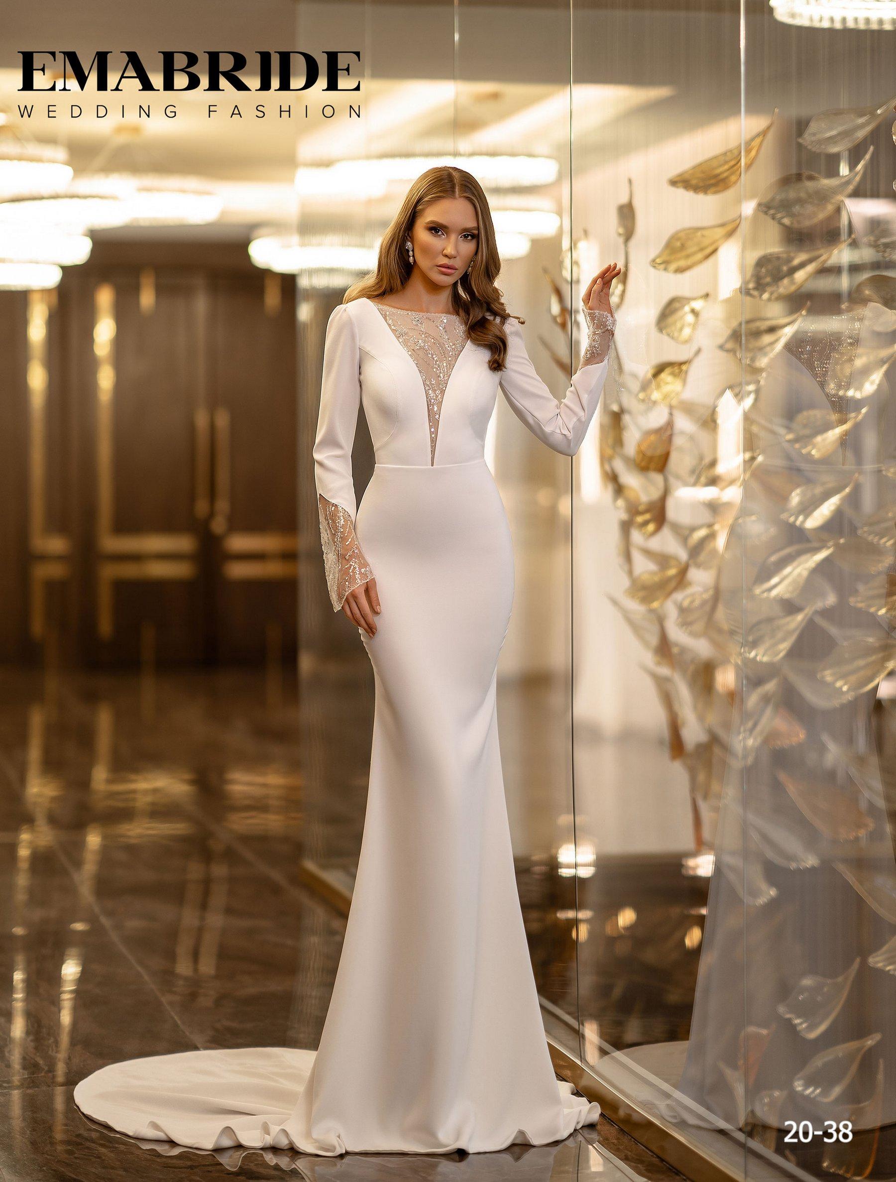Элегантное свадебное платье русалка с рукавами оптом от Ema Bride-2