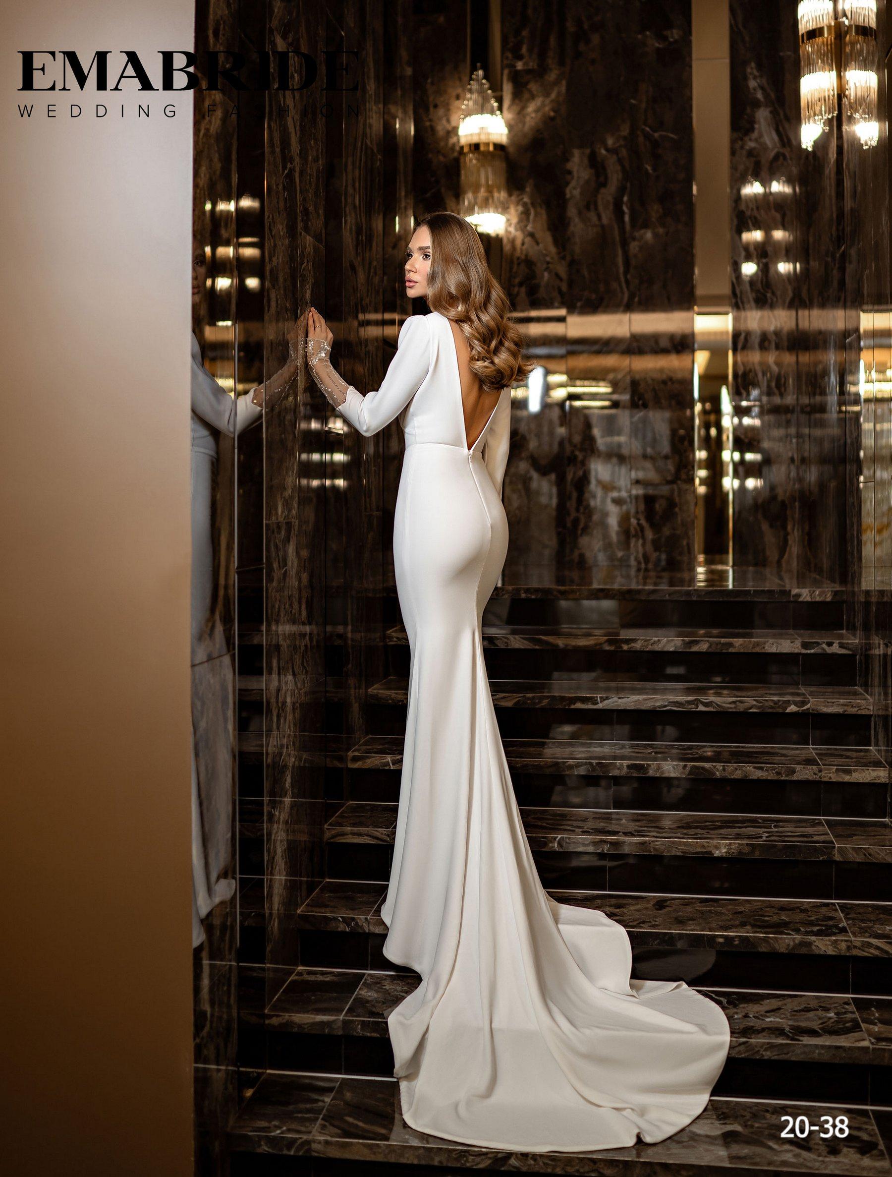Элегантное свадебное платье русалка с рукавами оптом от Ema Bride-3