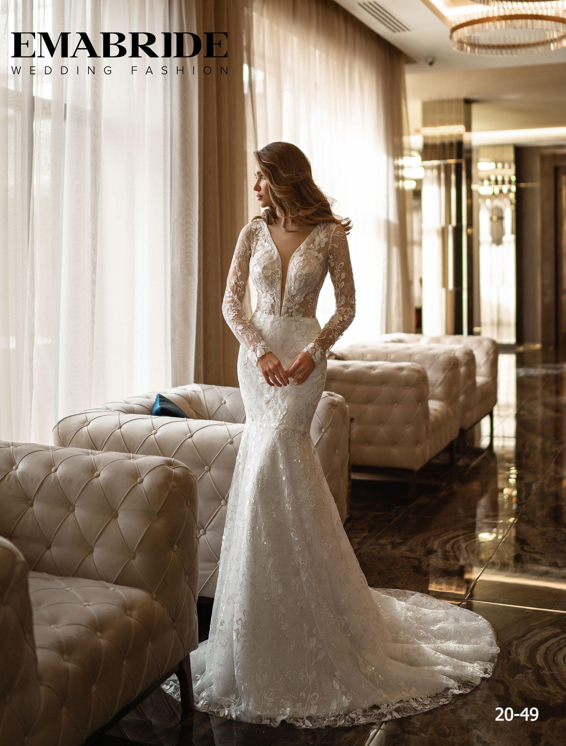 Свадебное платье русалка с длинными рукавами оптом от Ema Bride