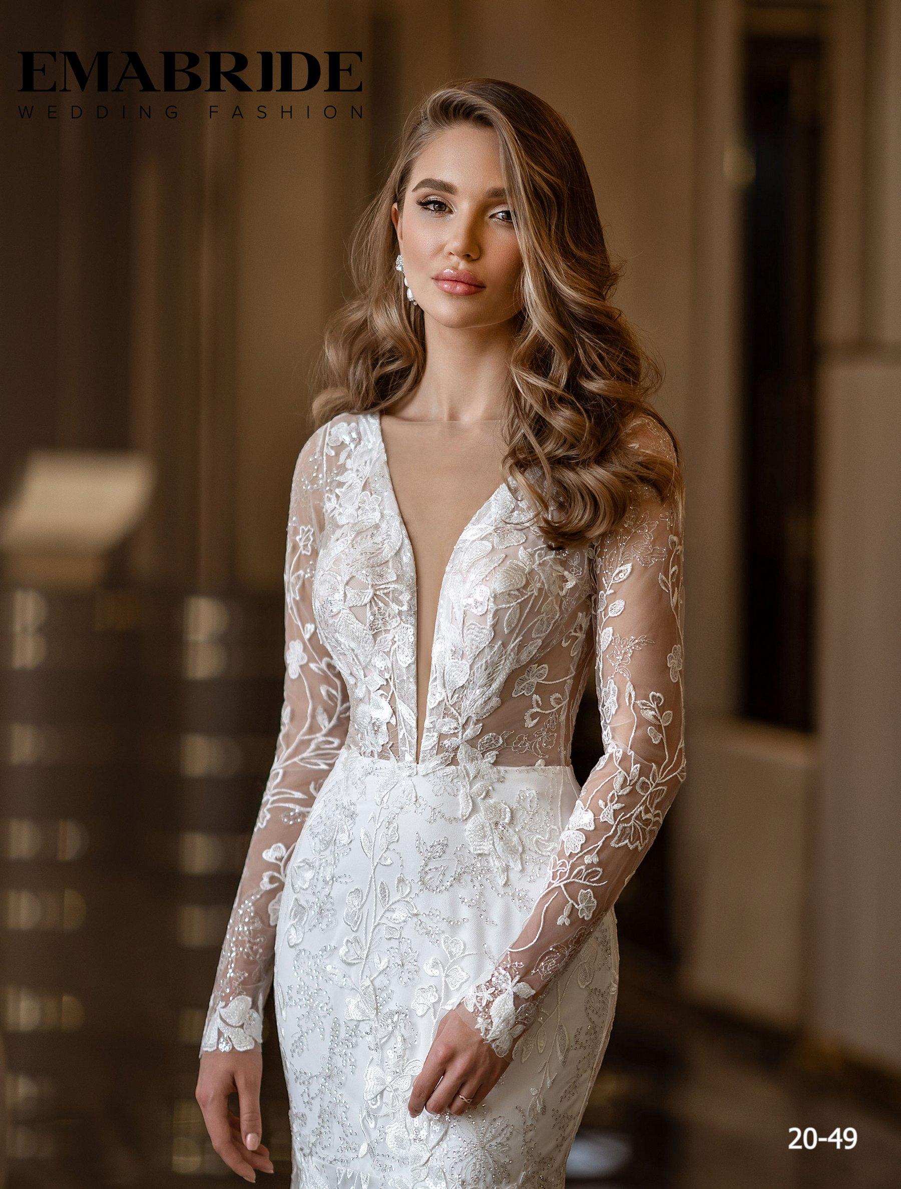 Свадебное платье русалка с длинными рукавами оптом от Ema Bride-1