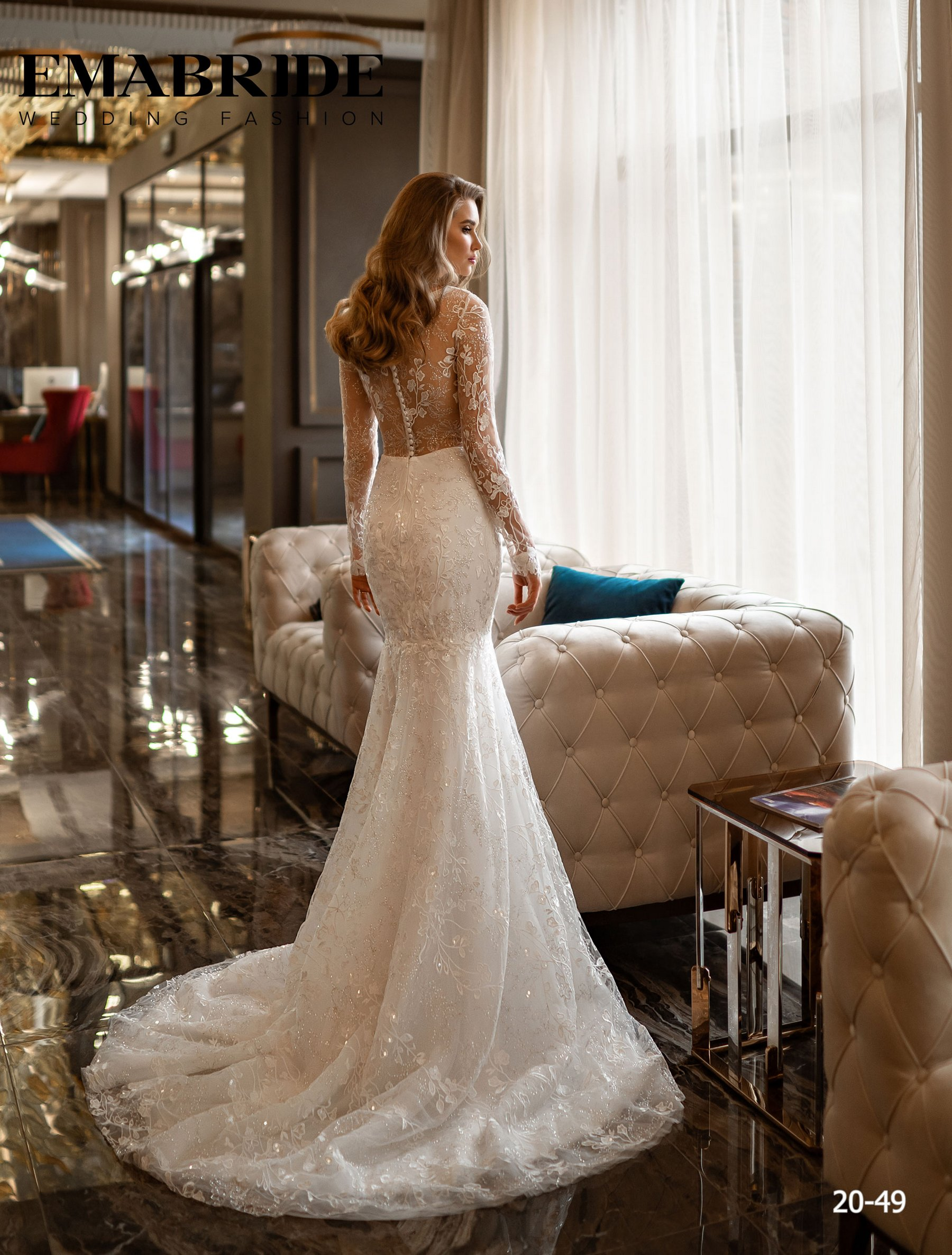 Свадебное платье русалка с длинными рукавами оптом от Ema Bride-2