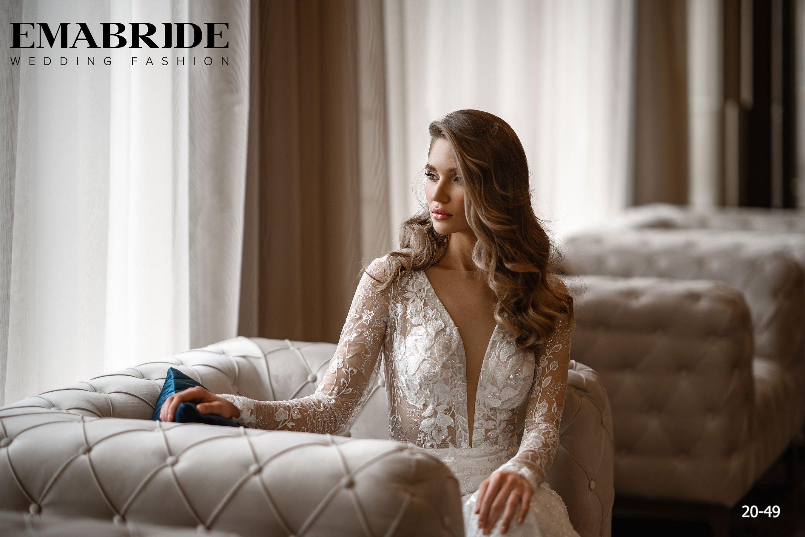 Свадебное платье русалка с длинными рукавами оптом от Ema Bride-3