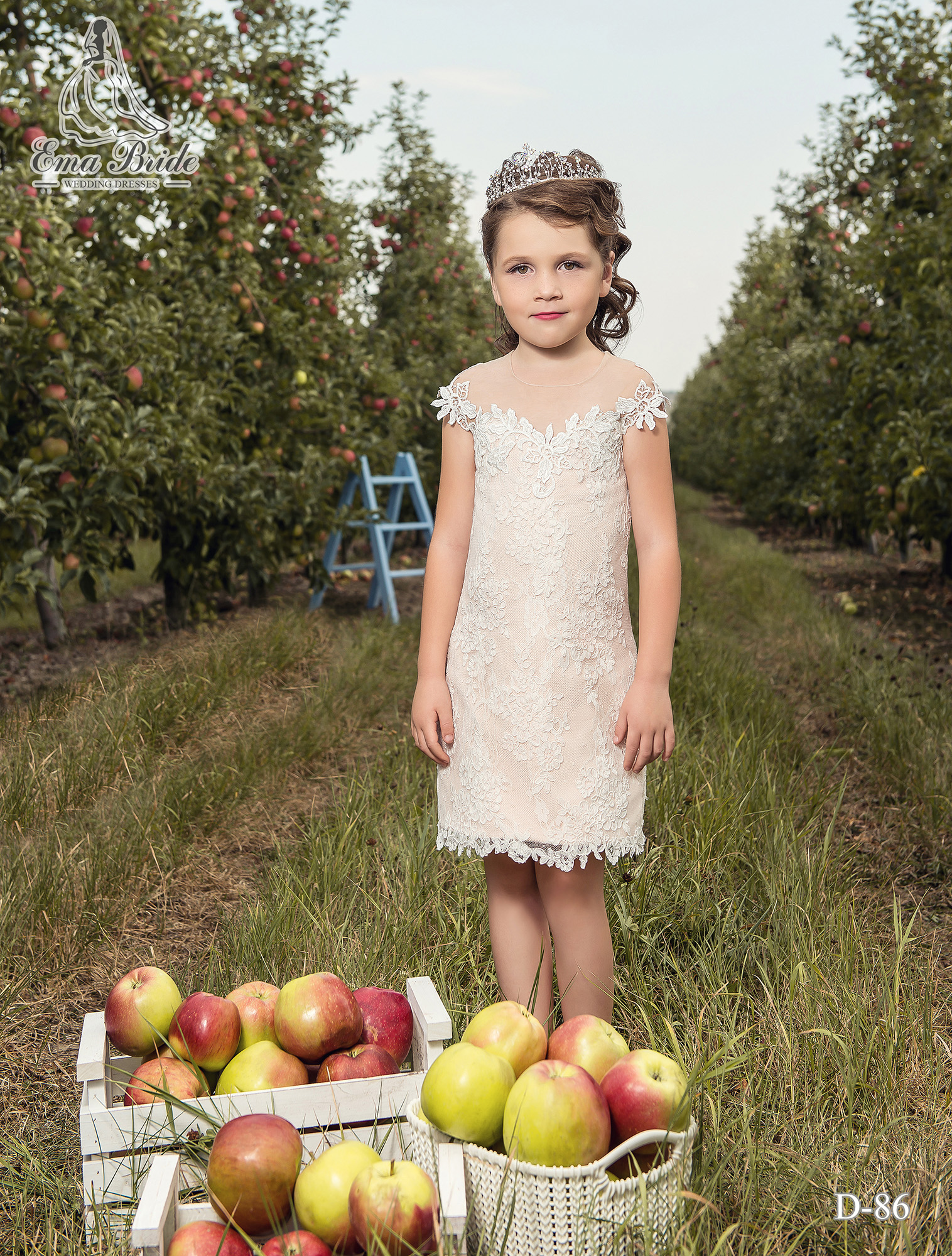 Children's dress with a long removable skirt with a slit-4
