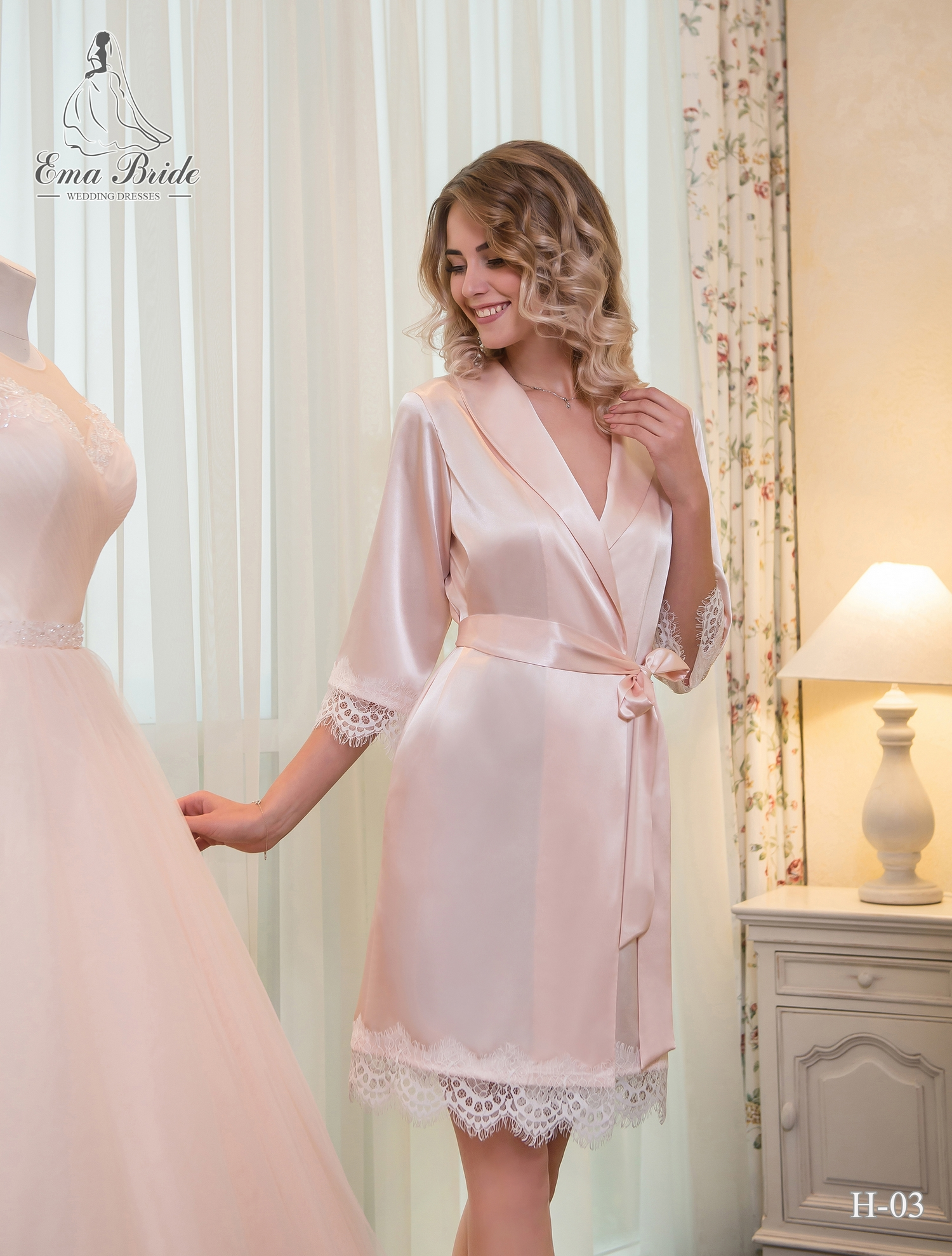 Satin peignoir for a bride
