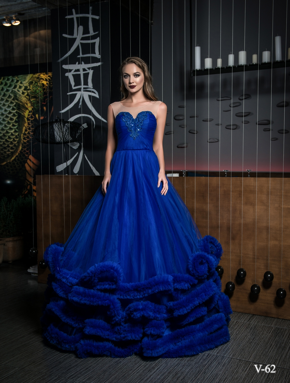 Evening dress V-62 on wholesale