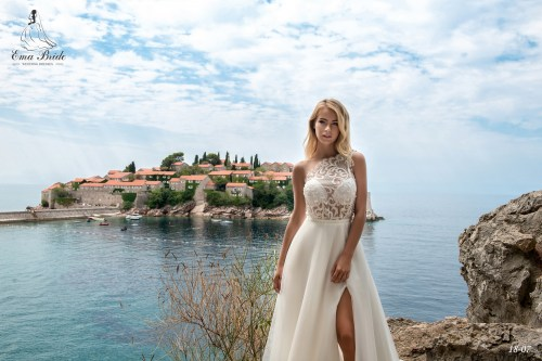 Light one-shoulder wedding dress by Ema Bride