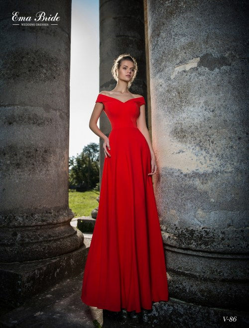 Red and blue evening dress
