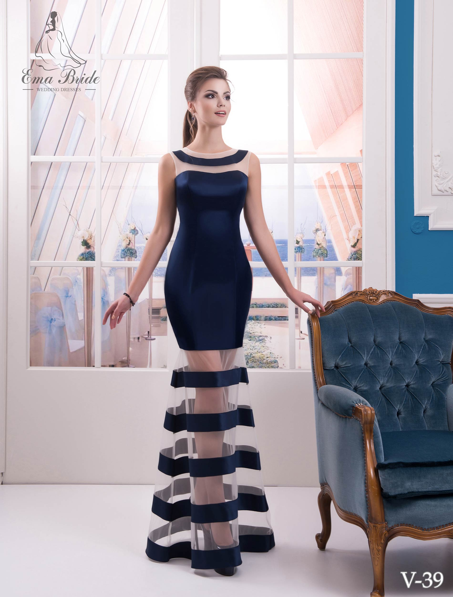 Evening dress v-39 on wholesale