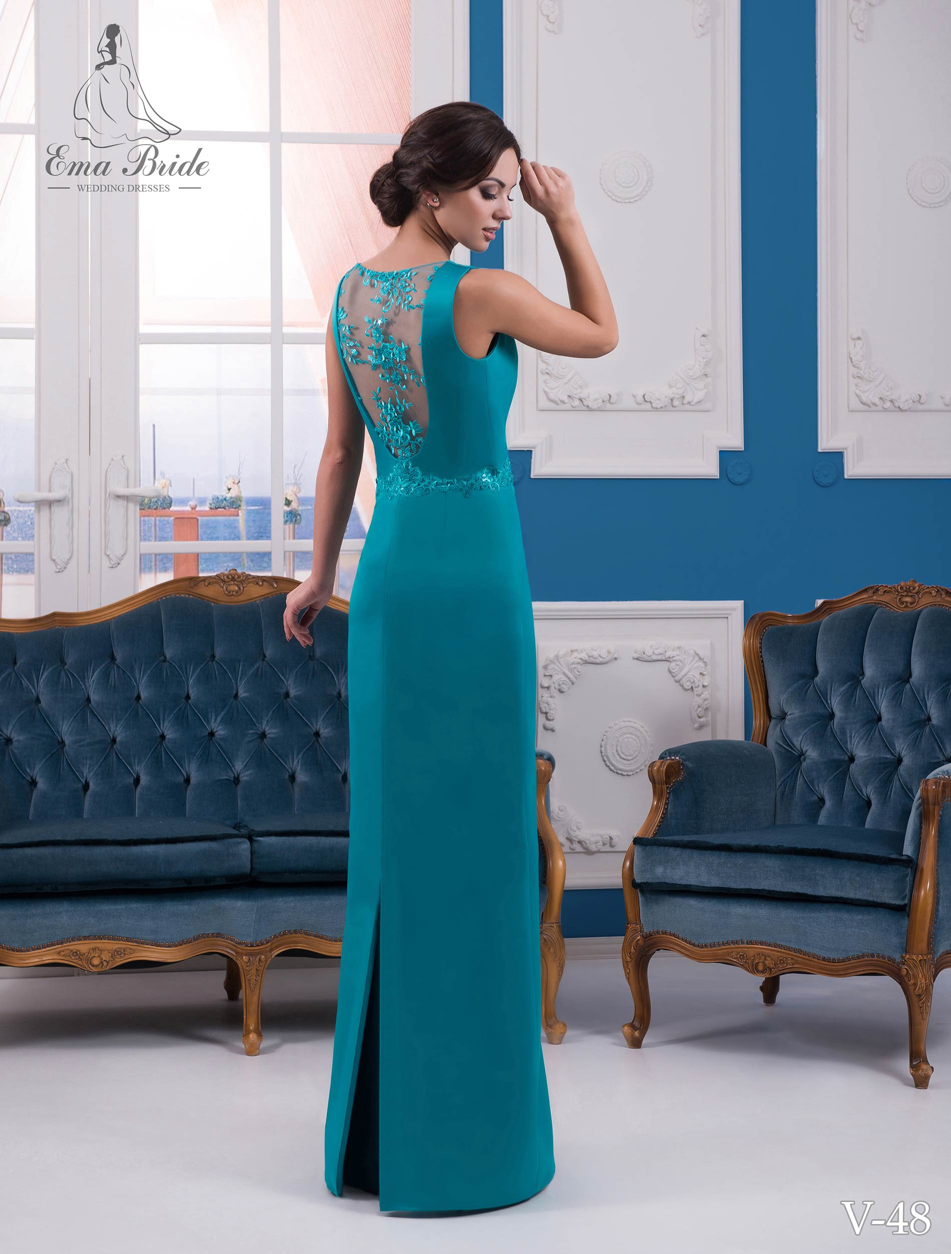 Evening dress v-48 on wholesale-2