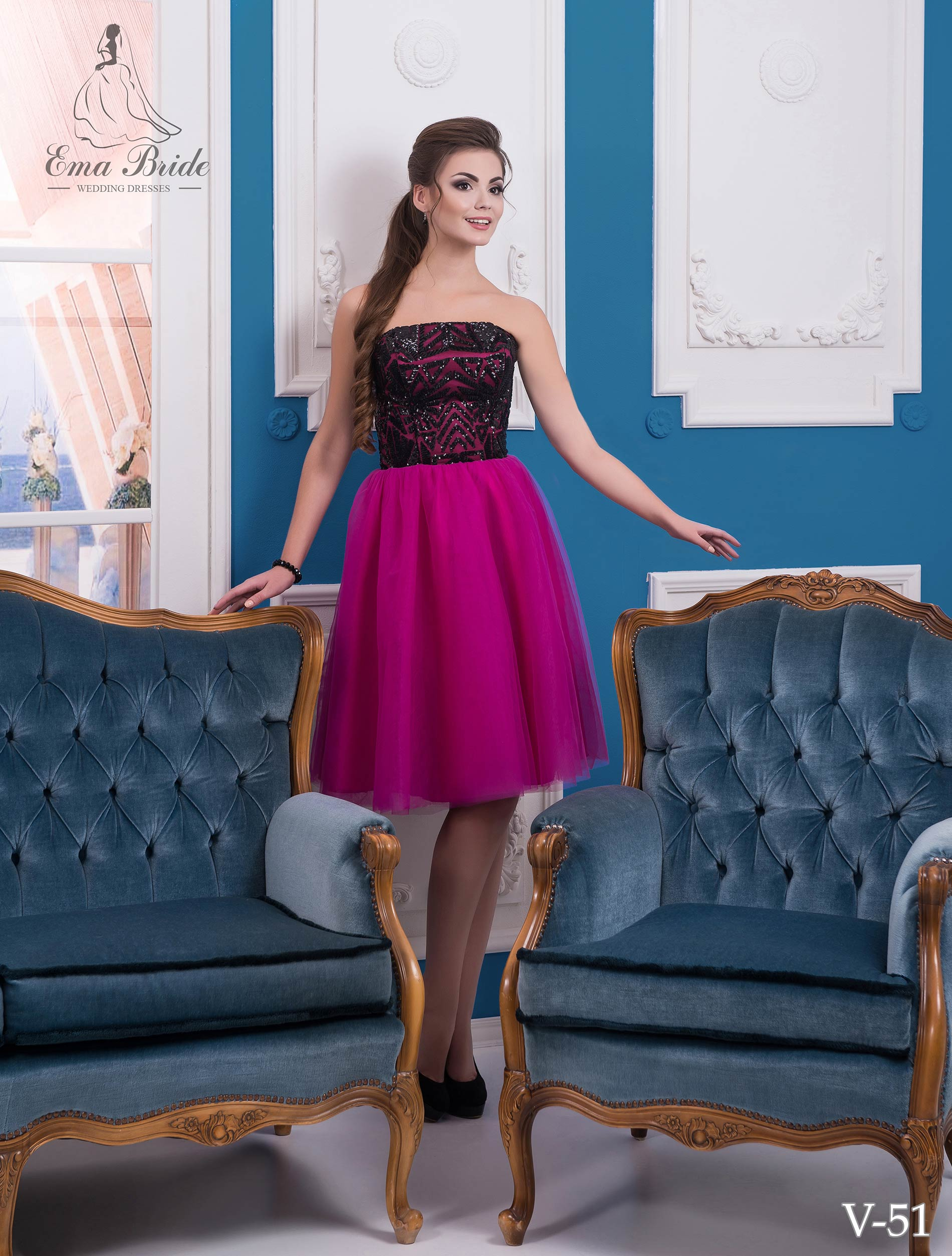 Evening dress v-51 on wholesale